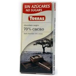 Hořká čokoláda 70% bez cukru 75g TORRAS
