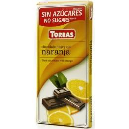 Hořká čokoláda s pomerančem bez cukru 75g TORRAS
