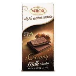 Mléčná čokoláda plněná krémem s lískovými oříšky bez přídavku cukru, bez lepku 100g VALOR