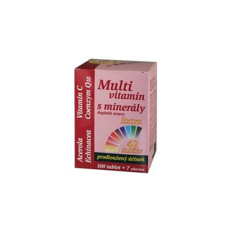 Multivitamin s minerály 42 složek, extra C + Q10, 107 tablet