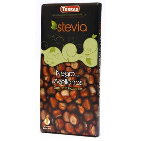 Hořká čokoláda s lískovými ořechy a stévií 125g TORRAS