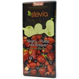 Hořká čokoláda s lesním ovocem a stévií 125g TORRAS