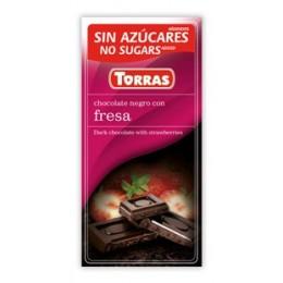 Hořká čokoláda s jahodami bez cukru 75g TORRAS