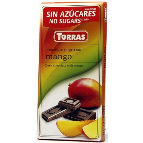 Hořká čokoláda s mangem bez cukru 75g TORRAS