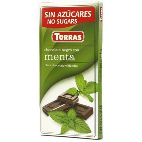 Hořká čokoláda s mátou bez cukru 75g TORRAS