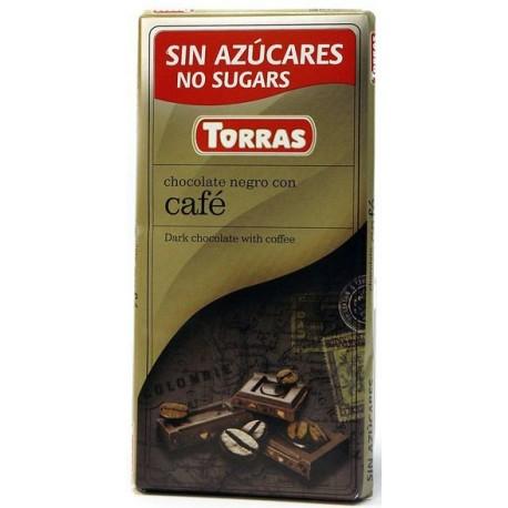 Hořká čokoláda s kávou bez cukru 75g TORRAS