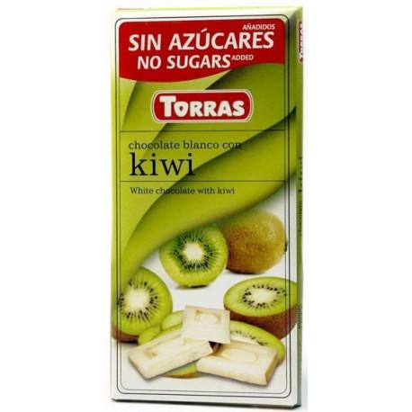 Bílá čokoláda s kiwi bez cukru 75g TORRAS