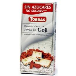 Bílá čokoláda s goji bez cukru 75g TORRAS