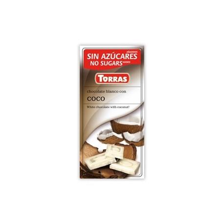 Bílá čokoláda s kokosem bez cukru 75g TORRAS