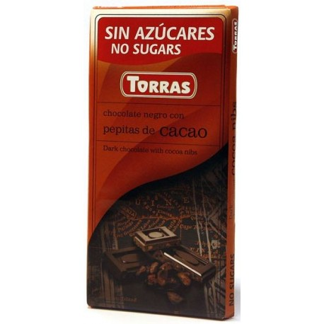 Tmavá čokoláda s kakaovými boby bez cukru 75g TORRAS