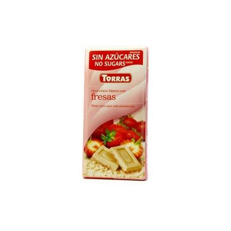 Bílá čokoláda s jahodami bez cukru 75g TORRAS