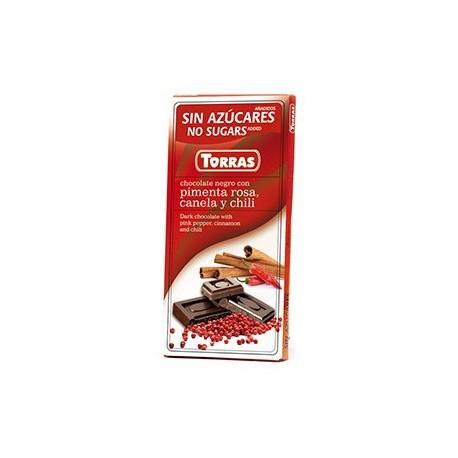 Hořká čokoláda s růžovým pepřem, skořicí a chili 75g Torras