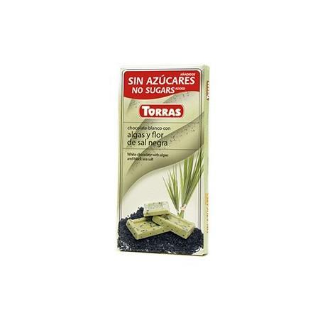 Bílá čokoláda s řasami a černou mořskou solí 75g TORRAS