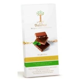Balance mléčná čokoláda se stévií, pistácie, mande, vl.