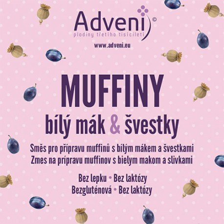 Muffiny bílý mák & švestky 280g ADVENI