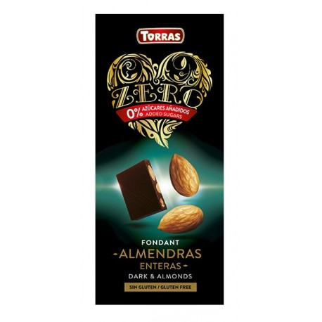 Hořká čokoláda s mandlemi bez cukru 150g ZERO TORRAS