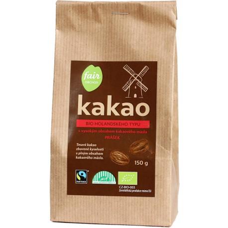 Bio kakaový prášek tmavý plnotučný, 150 g Fair Trade FO
