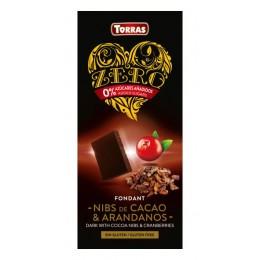 Hořká čokoláda s brusinkami a kakaovými boby bez cukru 125g Zero TORRAS