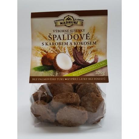 Špaldové sušenky s karobem a kokosem bez přidaného cukru 200g Madhuri