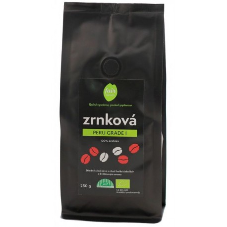 Bio zrnková káva Peru Grade 1, 250 g Fair trade FO