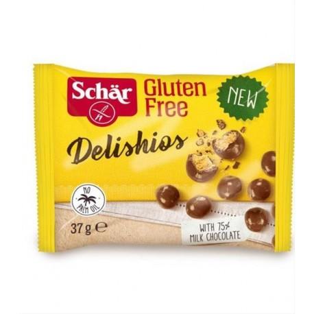 Delishios 37g - křupavé cereálie bez lepku máčené v mléčné čokoládě Schar