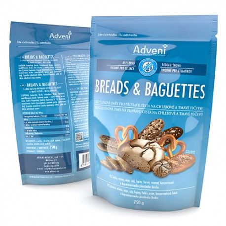 Bezlepková směs na hlebové a tmavé pečivo BREADS & BAGUETTES (dříve Simply Adveni) 750 g
