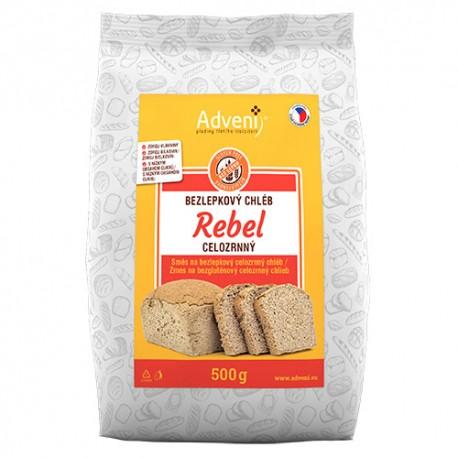 Bezlepkový celozrnný chléb REBEL 500g - ADVENI