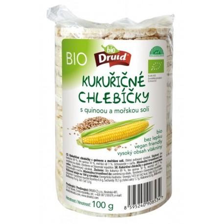 BIO kukuřičné chlebíčky s quinoou a mořskou solí DRUID 100g