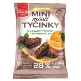 Mini müsli tyčinky s kakaovými boby a pomerančem bez lepku 70 g SEMIX